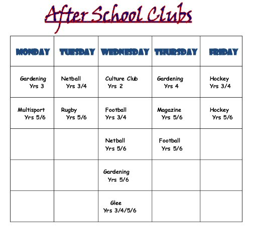 School Clubs List After School Clubs